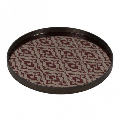 Burgundy Ikat Aged Mirror Tray