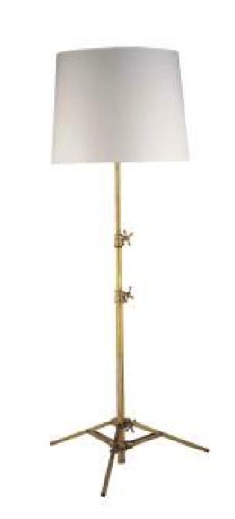 Antiqued Brass Studio Floor Lamp