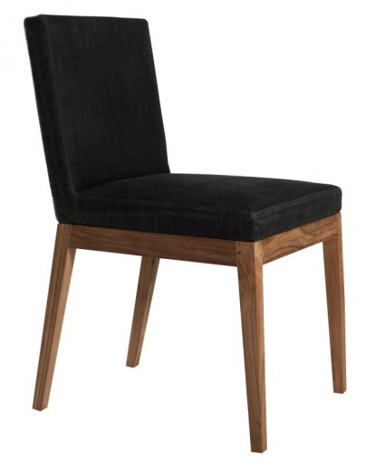 Teak Armless Dining Chair - Turkish Coffee Linen