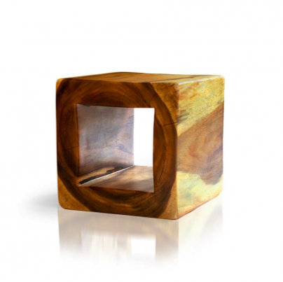Pierced cube stool side table tucker robbins for Solid wood cube side table