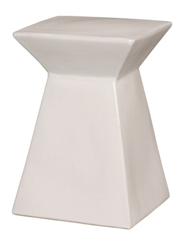 Upright White Ceramic Stool Porcelain Accent Side Table