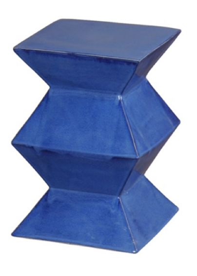 Blue Ceramic Zig Zag Stool