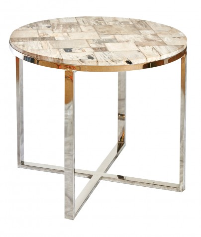 Petrified Wood Side Table - Round