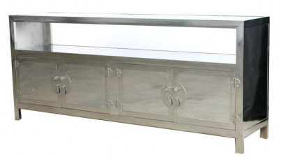 Polished Stainless Steel Open Sideboard