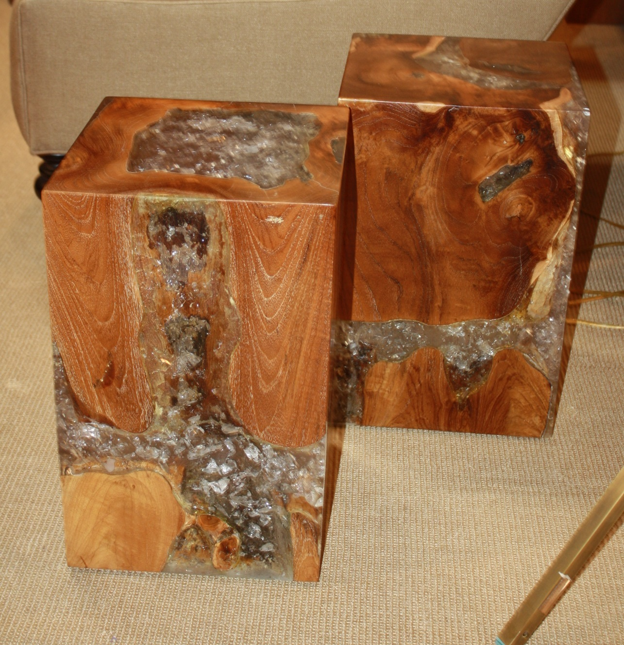 Teak Root Stool Side Table With Acrylic Resin Fill