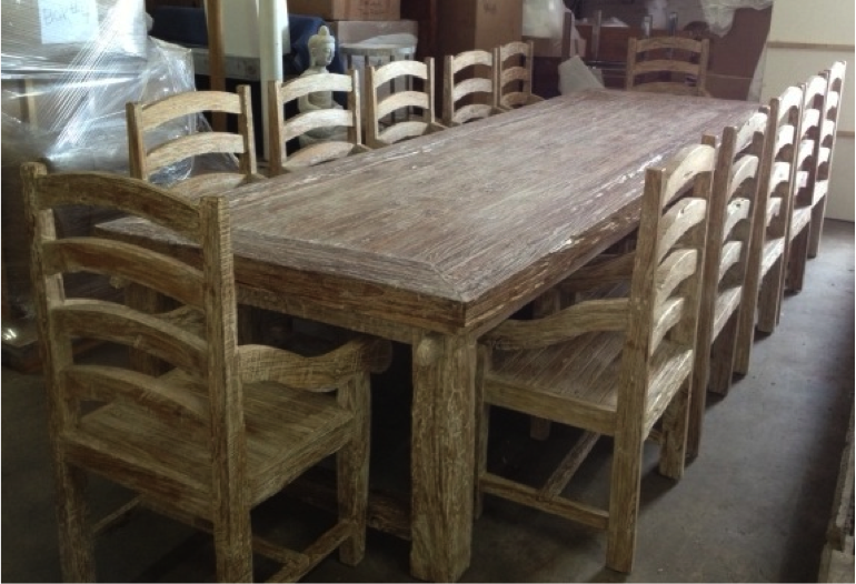 Whitewashed Teak Dining Table Set U003e
