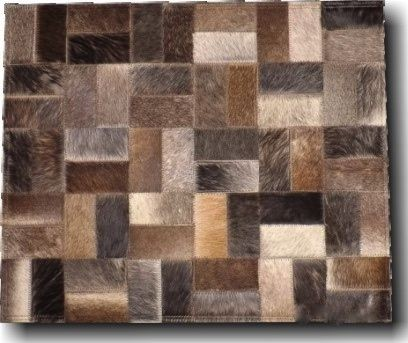 Geo Square Cow Hide Rug