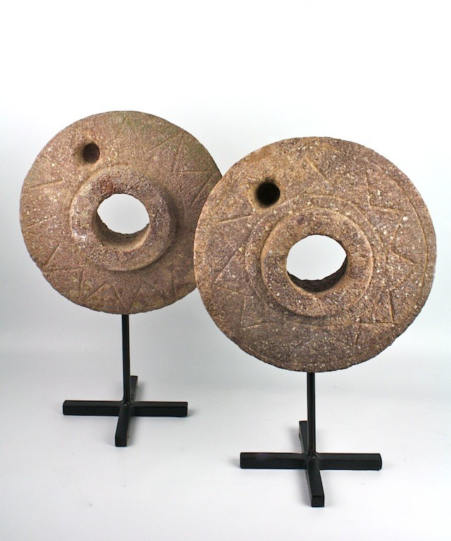 Antique Stone Grinding Wheel Designer Accessories From India