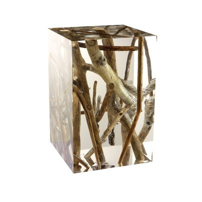 Occasional Table Kisimi Driftwood Acrylic Stool Bleu