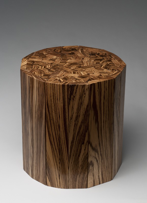 Zebrawood Puzzle Top Side Table Handcrafted Side Table