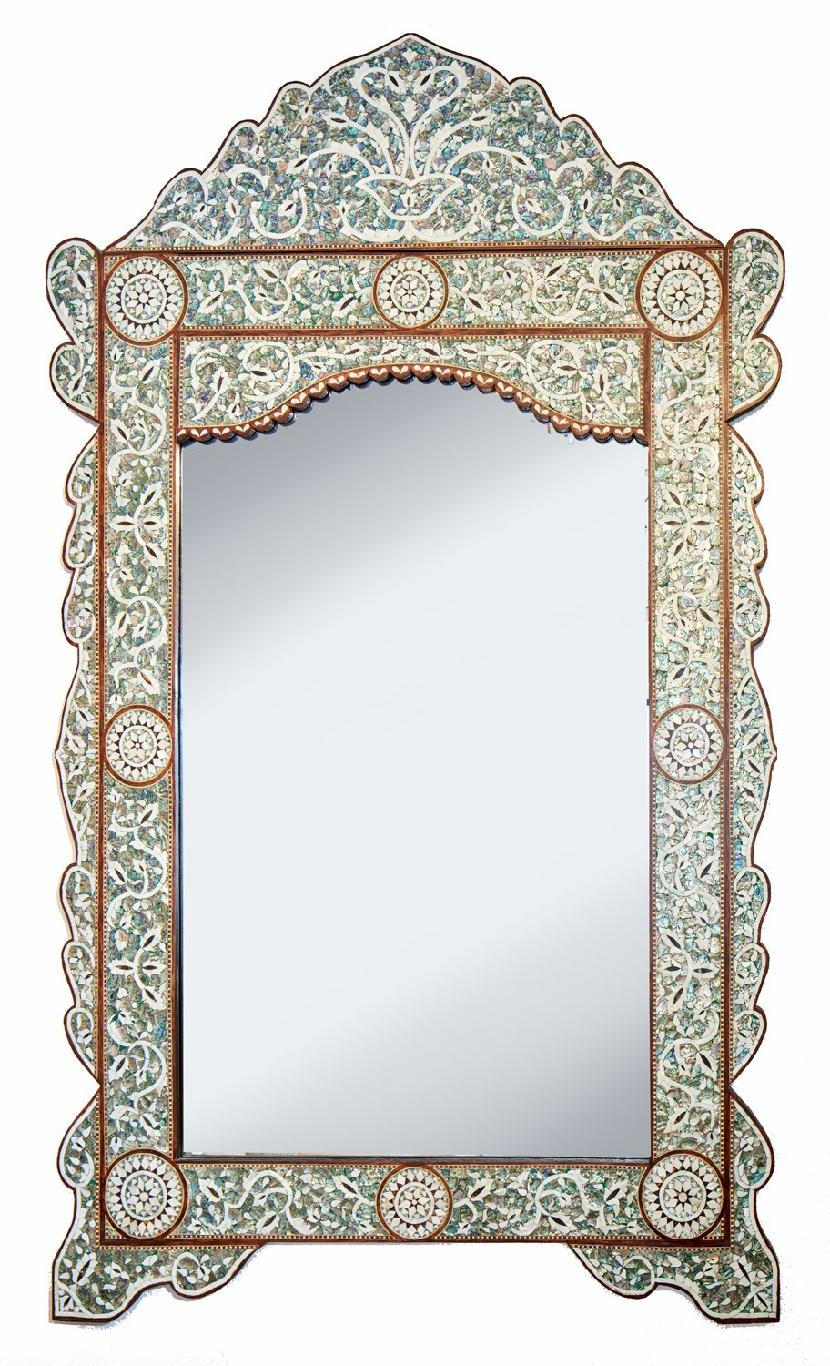 Green Mother Of Pearl Mirror Ornate Inlay Mirrors Miami