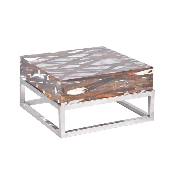 Kisimi Acrylic Driftwood Coffee Table  Bleu Nature Furniture Collection -> Table Basse Verre Bois