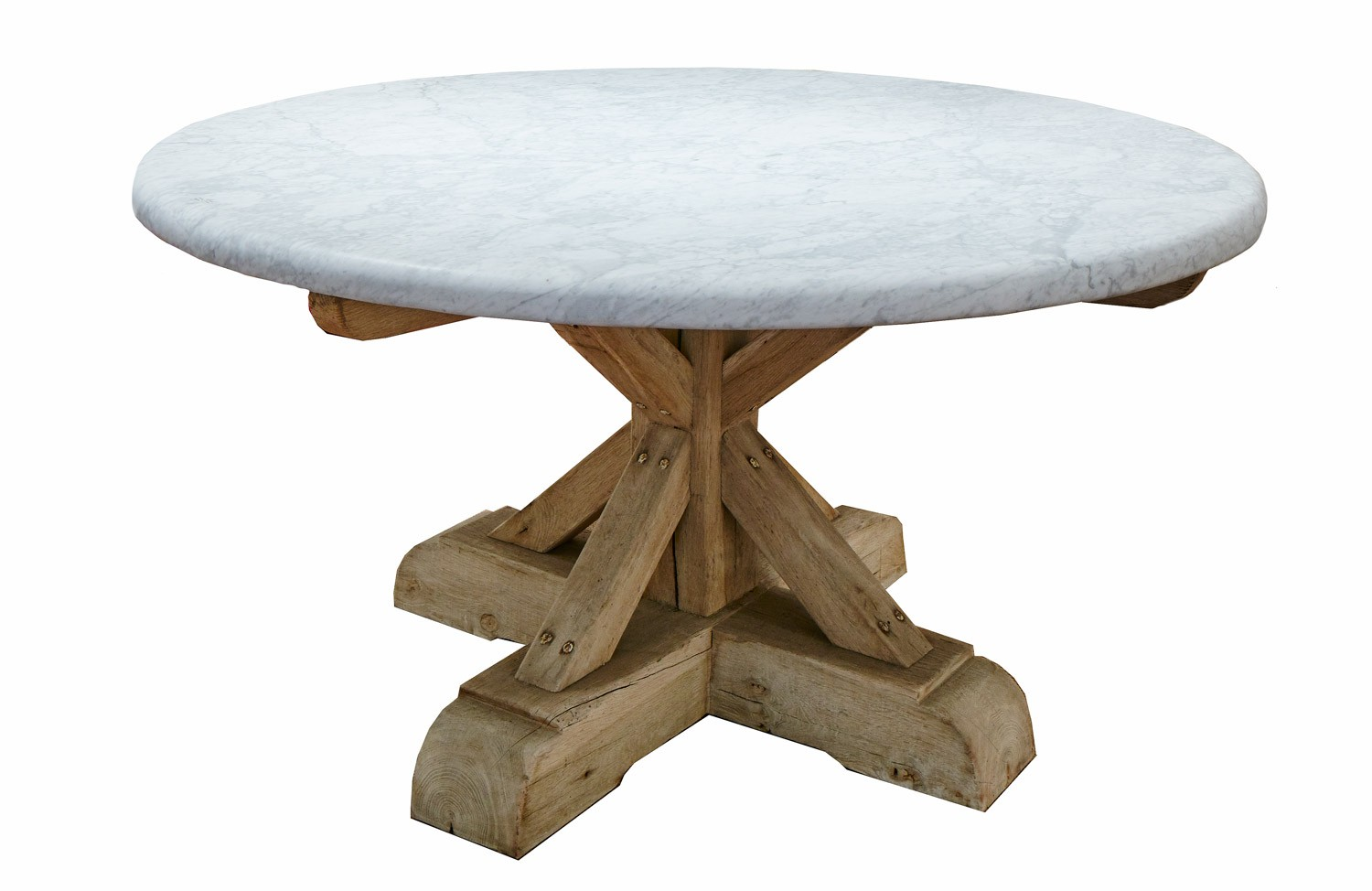 Round Dining Table White Carrara Marble Top And French Oak