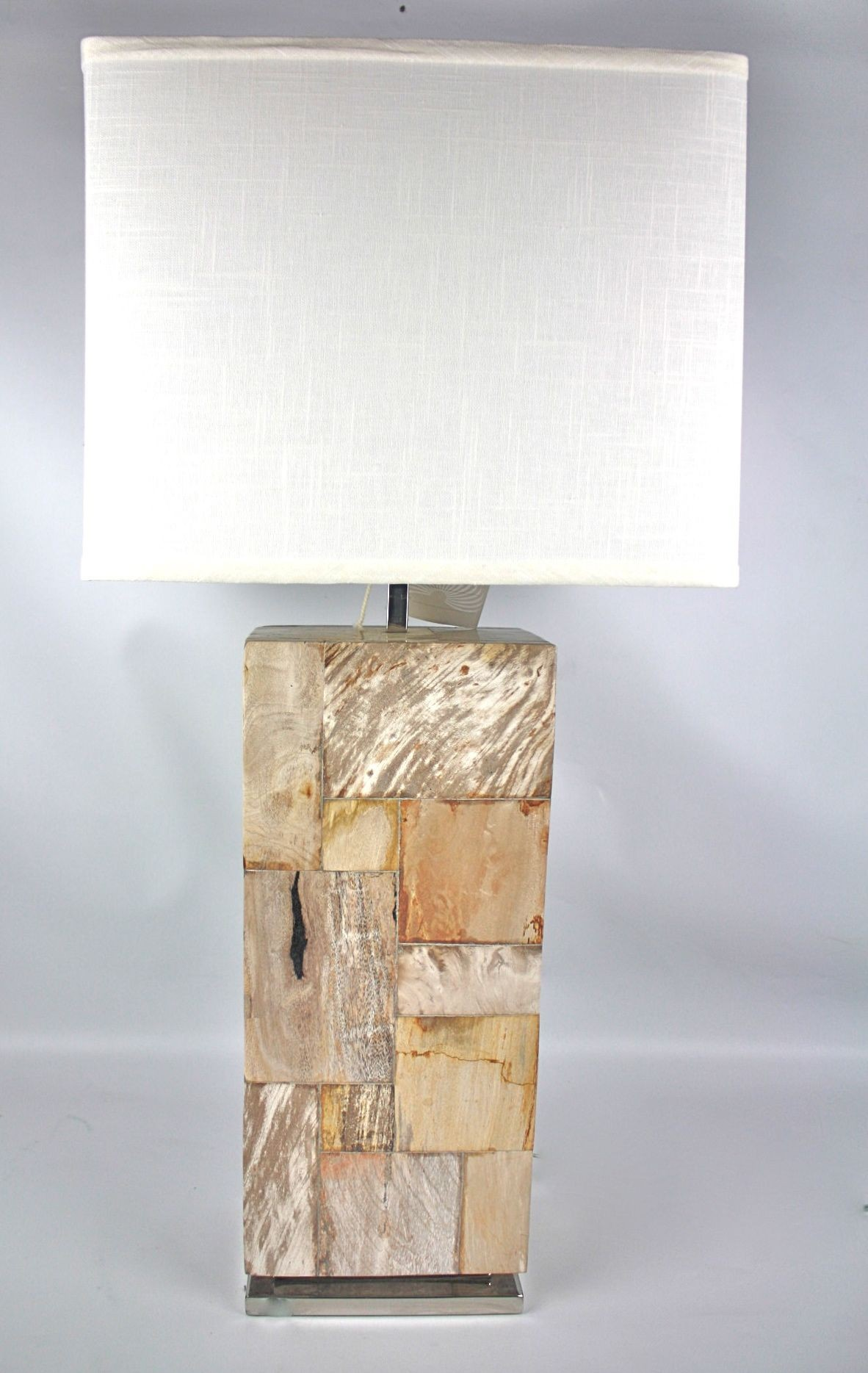 Petrified wood lamp on steel base indonesian lighting petrified wood lamp on steel base aloadofball
