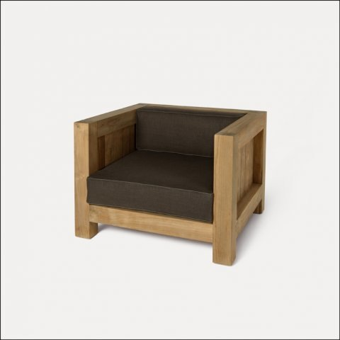Single Square Chair Teak Wood Outdoor Indoor