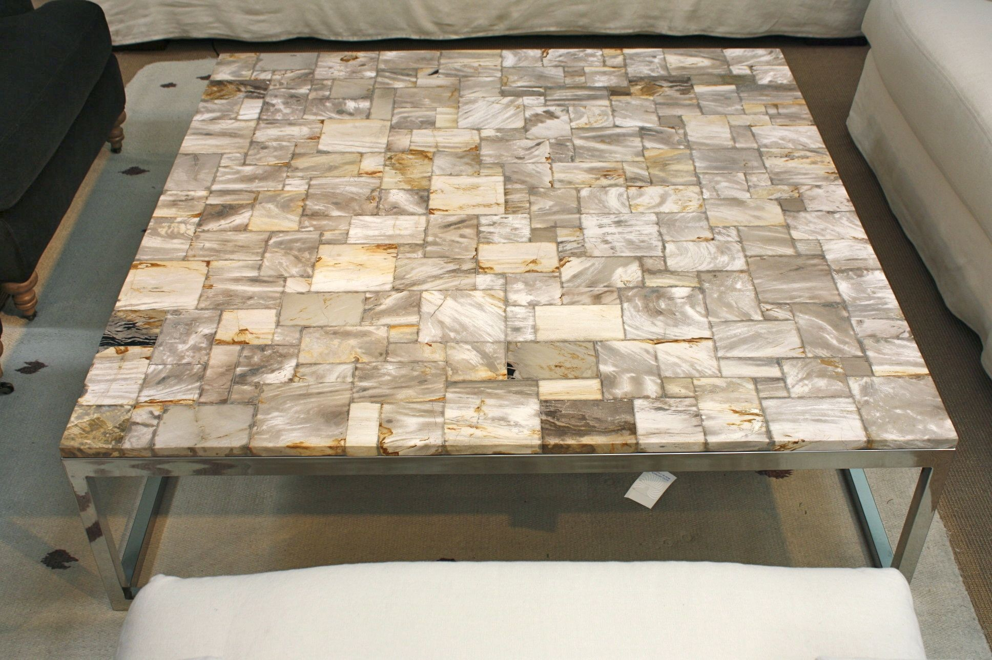 Nice Petrified Wood Coffee Table   Square