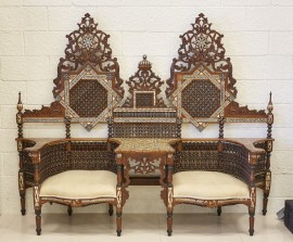 Vintage bone and mother of pearl inlay double settee