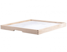Chicane Tray White Marble Raw Oak