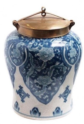 Blue and white  Condiment Pot - Medium