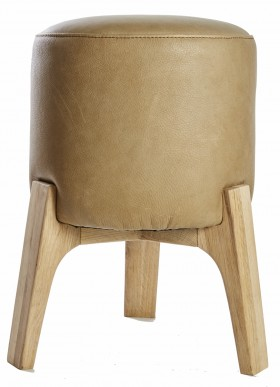 Leather Drum Stool Medium