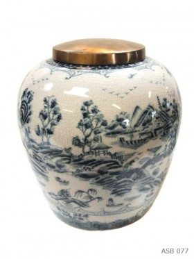 Blue and White Ginger Jar Round