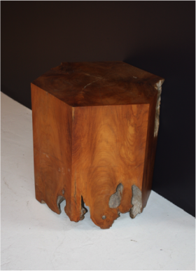 Hex Teak Wood Stool
