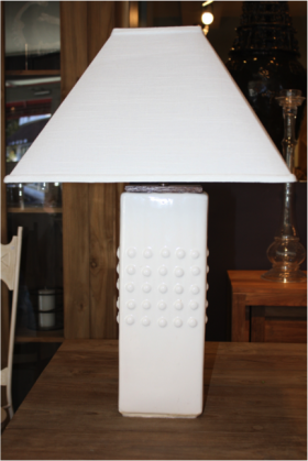 Square Studded White Ceramic Lamp