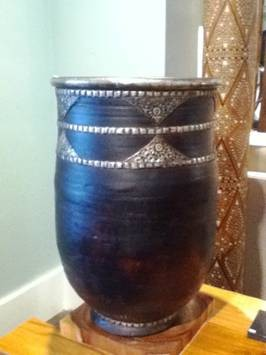 African Terra-cotta Urn with Maichort Appliqué