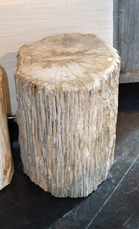 Blond Petrified Wood Stool - Natural Bark
