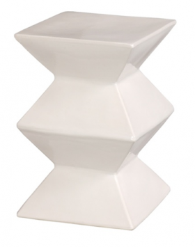 White Ceramic Zig Zag Stool