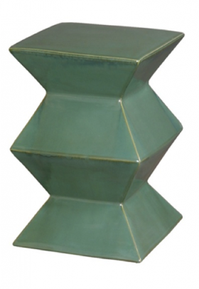 Green Ceramic Zig Zag Stool