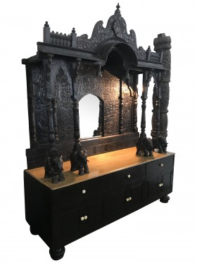 Antique Jharokha Teak Outdoor Bar