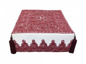 Moroccan Red Embroided Pouf