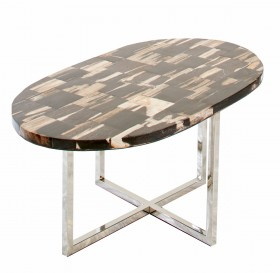 Oval Petrified wood tile table