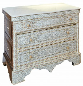 Mother Of Pearl Dresser With Marble Top Light