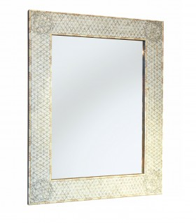White Mother of Pearl Rectangular Frame Mirror