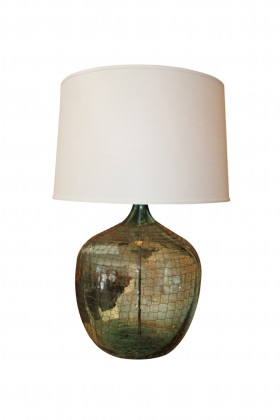 Large Antique Green Glass Bottle Table Lamp