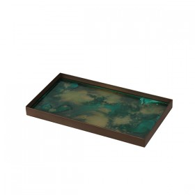 Malachite Organic Mini Glass tray Metal Rim