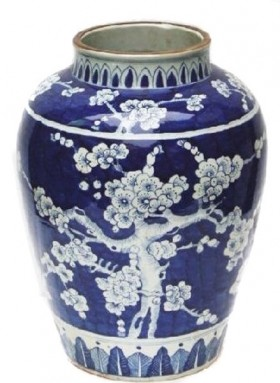 Ming Style Blue and White Porcelain Vase Cherry Blossom