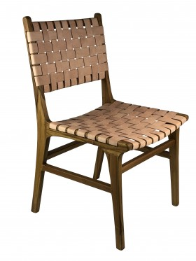 Zef dining chair teak and woven leather