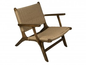 Millie Teak and Rope Outdoor Lounge Chair