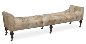Durango Button Tufted Leather Bench