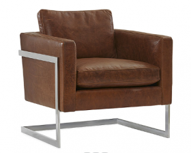Madrid Leather and Chrome Lounge Chair