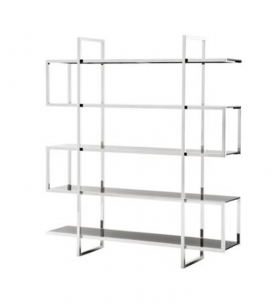 Stainless Steel and black glass etagere