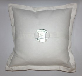 "Belgian Linen and Nacre Throw Pillow - 22""SQ"