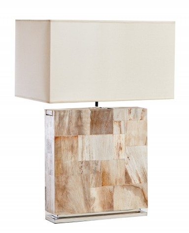 Petrified Wood Lamp on Steel Base